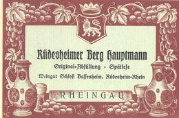 1 Etiquette Ancienne De VIN ALLEMAND - RUDESHEIMER BERG HAUPTMANN - RHEINGAU - ANNEES 30 - 40 - Riesling