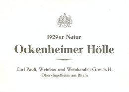 1 Etiquette Ancienne De VIN ALLEMAND - OCKENHEIMER HOLLE - 1929 - OBER INGELHEIM AM RHEIN - Riesling
