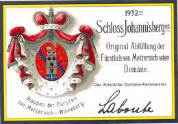 1 Etiquette Ancienne De VIN ALLEMAND - SCHLOSS JOHNNISBERGER - 1932 - VON METTERNICH WINNEBURG - Riesling