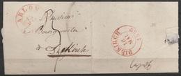 """L. Non-affranchie D'ARLON Pour DIEKIRCH - Càd """"ARLON/15 Mai/1858"""" - Port """"3"""" (au Dos: Càd """"DIEKIRCH/16 MAI/1858"""") - 1852 Guillaume III"""