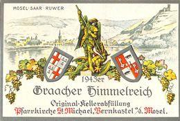 1 Etiquette Ancienne De VIN ALLEMAND - BRAACHER HIMMELREICH - 1943 - MOSEL SAAR RUWER BERNKASTEL MOSEL - Riesling