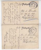 Bahnpost Schleswig-Satrup Mit Zwei Zugnummern Nach Helgoland 1915+1916 Ein Beleg Hat Einen Eckknick - Briefe U. Dokumente