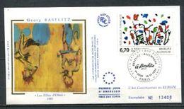 1994 FRANCE  FDC 1ER JOUR SUR SOIE ART CONTEMPORAIN TABLEAU DE GEORG BAZELITZ - Modern