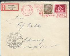OY184 /  DEUTSCHLAND - Olympiade 1936, Sonder-Maschinenstempel + Zusatzfrankatur V+ R-Zettel  Ex Dresden Nach Chemnitz - Summer 1936: Berlin