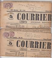 PAIRE 2C BLANC T84 ST JULIEN DE REYSSOUZE AIN SUR JOURNAL X 2 LE COURRIER DE L'AIN DU 23 JANVIER 1905 ET 20 JUIN 1906 - Postmark Collection (Covers)