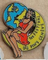PIN UP ROBE ORANGE -SUR LA LUNE-1ER FESTIVAL DU PIN'S-GENEVE - SUISSE - MOON - WOLRD - MONDE -  (19) - Pin-ups