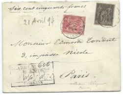 ENVELOPPE SAGE N° 98 ROSE & N° 89 NOIR SUR LILAS/ CHARGE / BORDEAUXPOUR PARIS / 1894 - Marcophilie (Lettres)