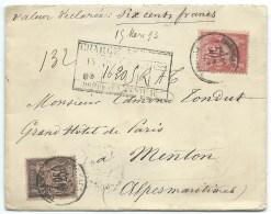 ENVELOPPE SAGE N° 97 NOIR SUR ROSE & N° 98 ROSE / CHARGE / BORDEAUX POUR MENTON / 1893 - Marcophilie (Lettres)