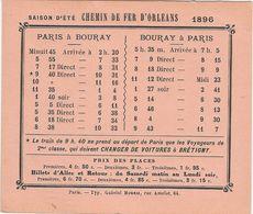 Horaire Chemin De Fer D'Orléans Paris Bouray 91 Essonne 1896 Train - Europe