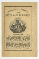 Congregazione Santa Casa Di Loreto - Pagellina Del 1899 - Parrocchia Di Cassano Murge (Bari) - Devotion Images