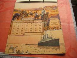 Red Star Line World Cruise - Authentic Calendar 12 Months - Illustrator FREINET Belgenland Approx 1930 Antwerpen VG Ship - Calendars