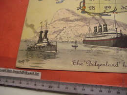 Red Star Line World Cruise - Shipping Calendar 12 Months - Illustrator FREINET Belgenland Approx 1930 Antwerpen VG Ship - Calendriers