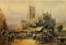 YORKS - HULL - HOLY TRINITY CHURCH AND MARKET PLACE - ART - Hull