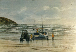 YORKS - LANDING THE BOATS AT FILEY By GLYN HUTCHINS - ART - Hull