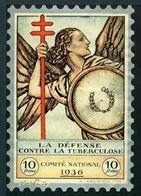 """Tuberculose Antituberculeux - Grand Timbre De 1936  """"10 Fr Pour La Santé"""" - Avec Pochette Comparaison . - Erinnofilia"""