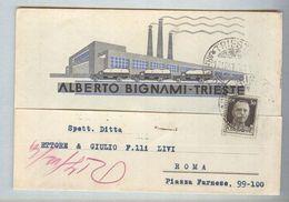 TRIESTE....FABBRICA DI CORDE,SPAGHI..ALBERTO BIGNAMI..CON FIRMA..NEL 1941..FRIULI - Trieste