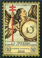 """Tuberculose Antituberculeux - Grand Timbre De 1936  """"50 Fr Pour La Santé"""" - Avec Pochette Comparaison Des Résultats . - Erinnofilia"""