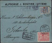 Turquie Smyrne Hôtel Des Postes Istanbul Pour Alsace Allemande Guebwiller Elsass Censure Mulhouse Vignette Fermeture - 1837-1914 Smyrna