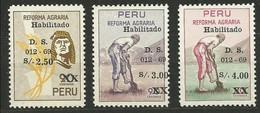 PERU 1969 ** MNH Mi:PE 709/11, Sn:PE 510/12, Yt:PE 496/98 REFORMA AGRARIA - Peru