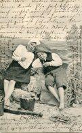 GERMANY - Children Vignette VG Postmarks WYK & MARIENBAD 1903 - Undivided Rear - Gruppen Von Kindern Und Familien