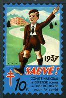 """Tuberculose Antituberculeux - Grand Timbre De 1937  """"10 Fr Pour La Santé"""" - Avec Pochette PLM. - Erinnofilia"""