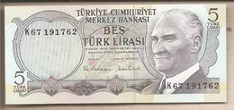 Turchia - Banconota Non Circolata FdS Da 5 Lire P-185 - 1970 - Turchia