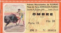 Ticket D'entrée - Arènes De Floirac - Corrida, Tauromachie  - 8 Octobre 1988 Ombre - Tickets D'entrée