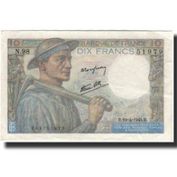 France, 10 Francs, 1945-04-19, KM:99b, SUP, Fayette:8.13 - 1871-1952 Circulated During XXth