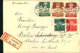 1935, Einschreiben Mit Bunter Sondermarkenfrankatur - Allemagne