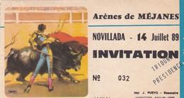Ticket D'entrée - Arènes De Méjanes - Corrida, Tauromachie - 14 Juillet 1989 - Novillada - Invitation - Biglietti D'ingresso