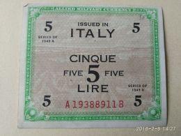 5 Lire 1943 Bilingue - [ 3] Military Issues