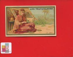 Paris  Travailleurs Boulevard Voltaire Superbe Chromo Calendrier Dorée Café Femme Turque Turquie 1890 - Calendars