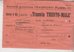 Biglietto Tranvia Trento Malè S. Michele A/r - Europa