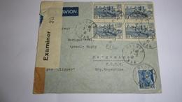 Lettre Par Avion, De Hyéres Var, Pour L'Argentine, Avec Censure - Poste Aérienne