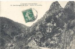 L'AVEYRON PITTORESQUE-58- LES GORGES DU LOT . ROCHER DE FONTBILLOU . AFFR LE 9-7-1911 SUR RECTO - Non Classés
