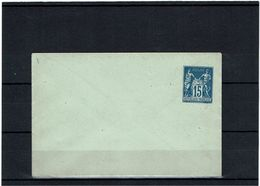 CTN27- EP ENV SAGE 15c PAPIER AZURE 115x75 IMPRESSION DE LA VIGNETTE LEGEREMENT OBLIQUE NEUVE TB - Postal Stamped Stationery