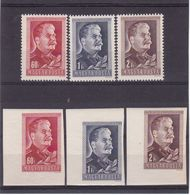 #8346 Hungary 1949 Full Set Perf.+imperf Embossed Stamps MNH Michel 1066 - 68A+B: History, 70' Anniversary Of I.V.Stalin - Hungary