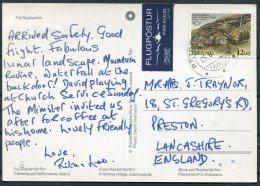 1987 Iceland Reydarfjordur Postcard Airmail - Preston, Lancashire - 1944-... Repubblica