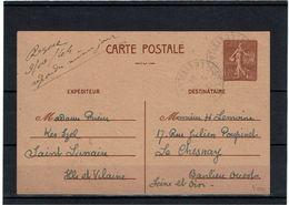 CTN27- EP SEMEUSE LIGNEE 1f20 EMISSION DE RENNES CIRCULEE OCTOBRE 1944 - Standard Postcards & Stamped On Demand (before 1995)