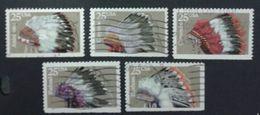 VERINIGTE STAATEN ETATS UNIS USA 1990 INDIAN HEADDRESSES SET OF 5 USED SC 2501-05 YV 1909-13 MI 2098-102 SG 2535-39 - Gebraucht