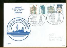 DEUTSCHE - RENDSBURG - MJ332 STAPELLAUF - M1069 HOMBURG - MINENSUCHBOOT - Militaria