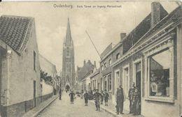 Oudenburg   -   Kerk Toren En Ingang Mariastraat  (beschadigd) - Oudenburg