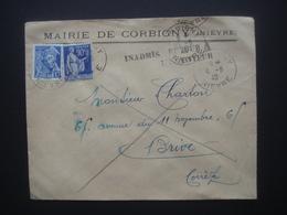Enveloppe Entête Mairie De Corbigny Cachet Postal 1940 Et Inadmis Et Retour à L'envoyeur - Postmark Collection (Covers)