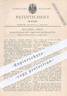 Original Patent - Fritz Deimel , Berlin , 1888 , Argandbrenner Mit Regulierbarem Gaszutritt | Gas - Brenner , Licht !! - Historische Dokumente