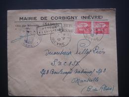 Enveloppe Entête Mairie De Corbigny Cachet Postal 1940  Et Retour à L'envoyeur - Postmark Collection (Covers)