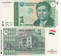 "TAJIKISTAN   1  Somoni   P14A    Dated 1999 (2010) ""Variety GLOBE""  UNC - Tajikistan"
