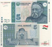 TAJIKISTAN   5  Somoni   P15     Dated  1999   UNC - Tajikistan