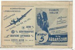 EESTI RARE STATIONERY PARO'S PUBLICITY SKIN LUFTHANSA JUNKER JU-52 CINE FILM METRO GOLDWYN MAYER LEON LION AVIATION ETC - Estonie