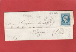 Loir Et Cher - Saint Amand De Vendôme GC3484 Sur N°22 - Origine Rurale Prunay - LAC 1866 Vers Vierzon - 1849-1876: Période Classique