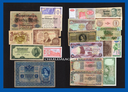 WORLD  MONDE  20 BANKNOTES BILLETS  LOT 1  UNC. TO  POOR CONDITION - Coins & Banknotes